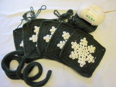 編み物バック編みかけ