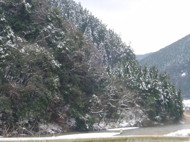 雪の重信川