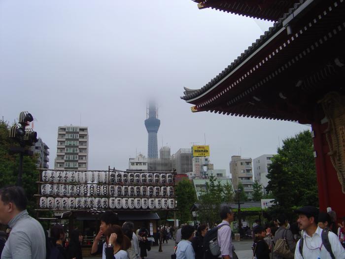 浅草寺とスカイツリー縮小