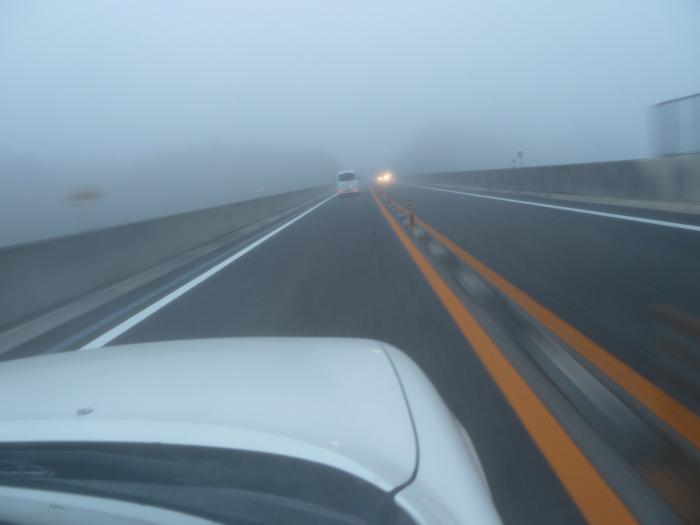 濃霧と高速縮小