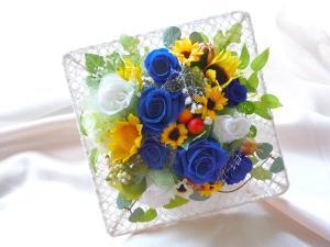 青いバラの壁掛け