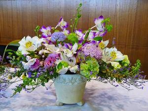入学式のテーブル花