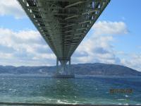 明石大橋の真下にて かなりの強風でした。