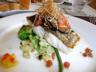 fish with anchovy & garlic souce