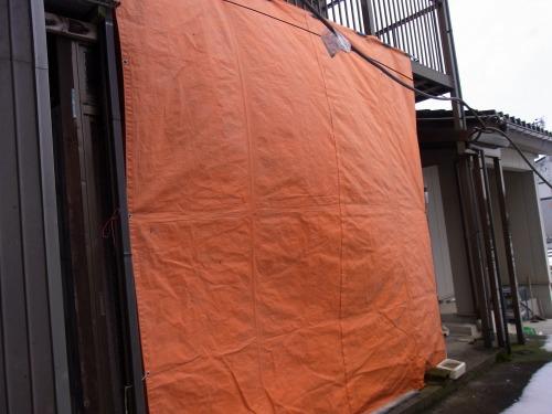 寒気遮断のためのオレンジシート