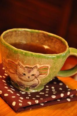928 恵水窯 猫の珈琲茶碗