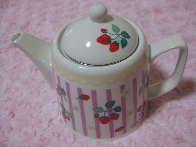 2-3周年ポーチャ還元4ストロベリー茶こし付きポット4202