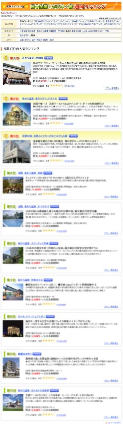 ユーザーが選んだ!人気宿ランキング福井編 週間ランキング8/25.jpg
