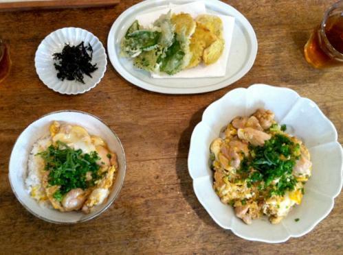 親子丼と天ぷら