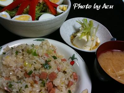 ネギとソーセージのチャーハン+榎と油揚げのお味噌汁+中華風冷奴+パプリカのグリーンサラダ