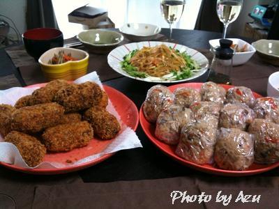 和風コロッケ・春雨サラダ・炊き込みごはんのおにぎり・卵と長ネギのお吸い物・きんぴらごぼう