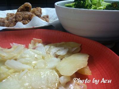 ジャーマンポテト・パプリカとブロッコリーのサラダ・から揚げ