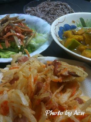 かき揚げ・そば・かぼちゃの煮物・ごぼうサラダ