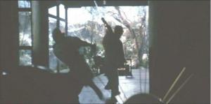 甲賀四郎兵衛の屋敷で対決する半蔵