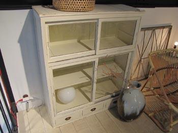 リメイク家具 リデザイン家具 白ペイント食器棚 本棚