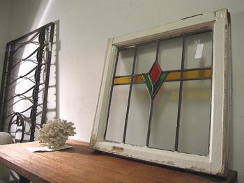 アンティーク ステンドガラス窓枠