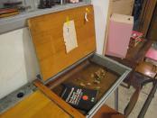 英国アンティーク 2人掛けスクールデスク 学習机 パソコンデスク 店舗什器 ディスプレイ