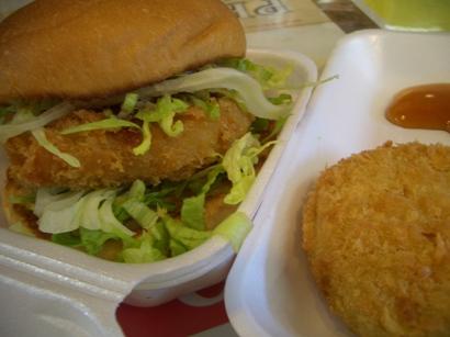 牡蠣バーガーとずんだコロッケ