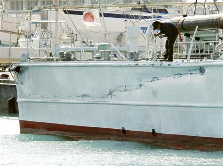 尖閣諸島破損した海保の巡視船