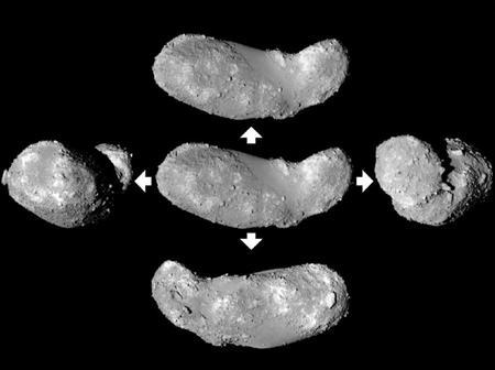 探査機はやぶさが観測した小惑星イトカワ。中央が真横、上から時計回りに真横、右、裏、左からの画像