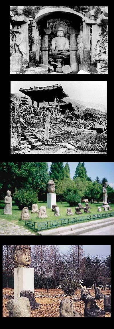 仏教弾圧によって打ち首になった仏像と打ち首になった仏像