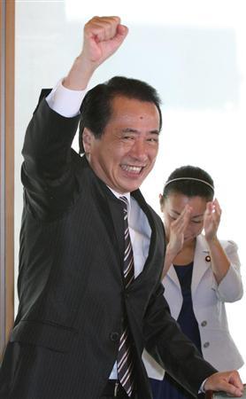 1年生議員との懇談会の席上、民主党代表選に向けて気合いを入れる菅直人首相