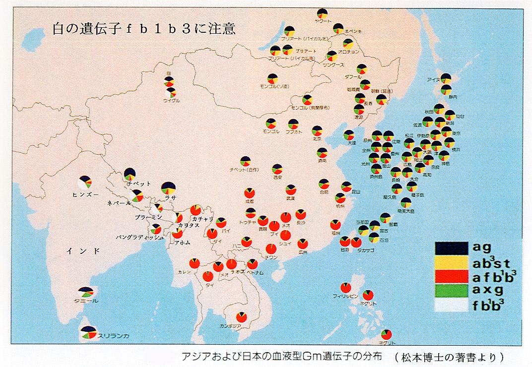 現在の殆どの日本人(沖縄県人やアイヌ人も含む)に最も濃く残っている遺伝子は、土着系(シベリアから来た縄文人)と同じである。