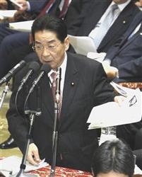 衆院予算委で答弁する仙谷官房長官=9日