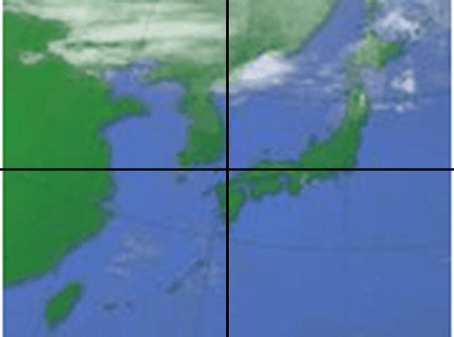 フジテレビのサイト「FNN フジニュースネットワーク」内にある天気予報は対馬辺りが中心になって「日本列島が中途半端に右上」にあり「中心に近いのは韓国」と表示(沖縄や数々の島々など南北に長い日本列島をす