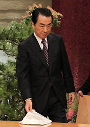 テレビ朝日の報道ステーションに生出演する菅直人首相=東京都港区のテレビ朝日で2011年1月5日