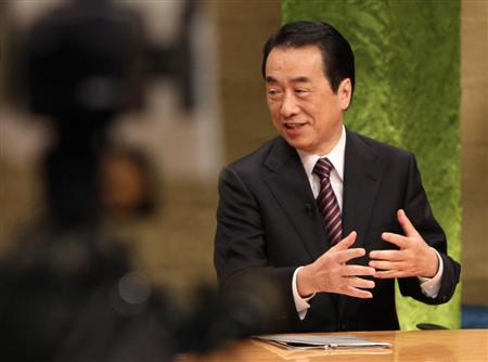 テレビ朝日の報道ステーション「総理と語る」に生出演する菅直人首相=2011年1月5日