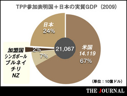 ニュージーランド、ブルネイ、シンガポール、チリの4加盟国+ベトナム、ペルー、豪州、マレーシア、米国の5参加表明国に日本を加えたGDPグラフ。日本と米国で9割以上を占める。(国連通貨基金(IMF)のHPより作成(2