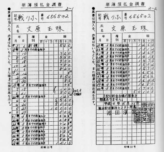 文玉珠は、平成4年(1992年)に日本の郵便局を訪れ、2万6145円の貯金の返還を要求した。調べたら「軍事郵便貯金原簿」というのが熊本貯金事務センターに残っていた