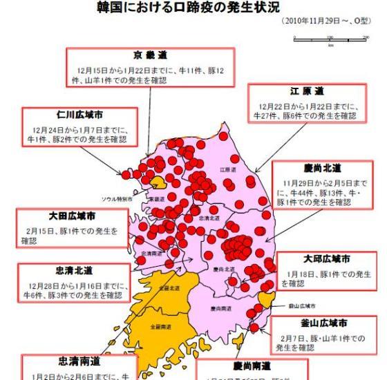農林水産省の資料。韓国における口蹄疫の発生状況(2月17日12時時点。感染は拡大中)