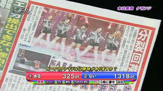 2011年1月28日放送 「5時に夢中」 生投票 K-POPアイドルに興味はありますか?