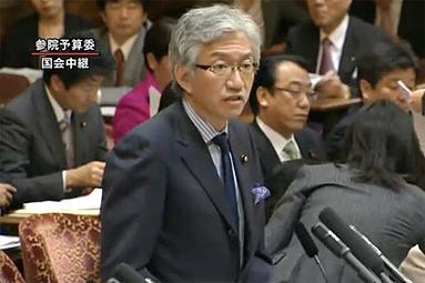 献金問題について閣僚を追求する西田昌司