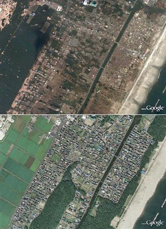 宮城県仙台市若林区荒浜の地震後(上)と2008年の衛星写真