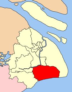 上海市中の奉賢区の位置