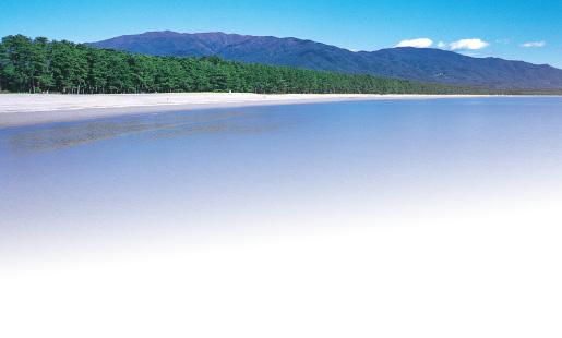 日本百景『高田松原』。岩手県陸前高田市にリアス式海岸の三陸では珍しい約2kmに及ぶ砂浜にクロマツ、アカマツの美しい松林と白い砂浜。