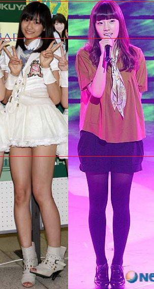 日本と韓国、ほぼ同じ身長のメンバー同士でスタイルの違いを比べてみると(テヨン&和田彩花編)