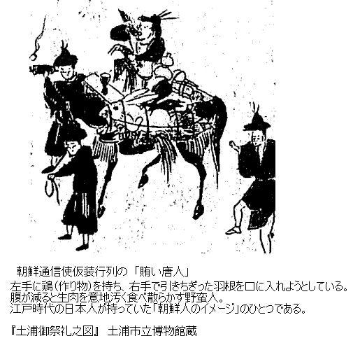 朝鮮通信使仮装行列の「賄い唐人」 腹が減ると生肉を意地汚く食べ散らかす野蛮人 江戸時代の日本人が持っていた「朝鮮人のイメージ」のひとつである。「土浦御祭礼之図」 土浦市立博物館蔵