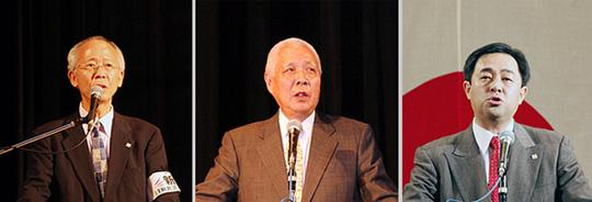 左から司会の村田春樹氏、基調講演の殿岡昭郎氏、維新政党新風の鈴木信行代表
