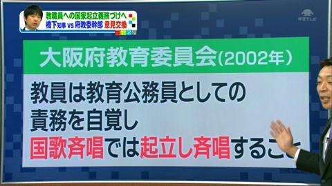 大阪府教育委員会(2002年) 教員は教育公務員としての責務を自覚し 国歌斉唱では起立し斉唱すること