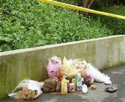松原莉音ちゃんが殺害されているのが見つかった現場に供えられた花束やジュース=27日午前9時30分ごろ、山口県下関市