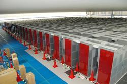 演算速度が世界1位となった、理化学研究所と富士通が開発中の次世代スーパーコンピューター「京」=神戸市中央区で2011年6月14日(理化学研究所提供)