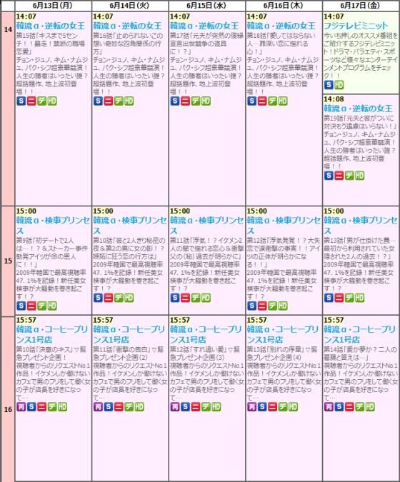 フジテレビの番組表がひどいことに 韓流ノンストップ3時間