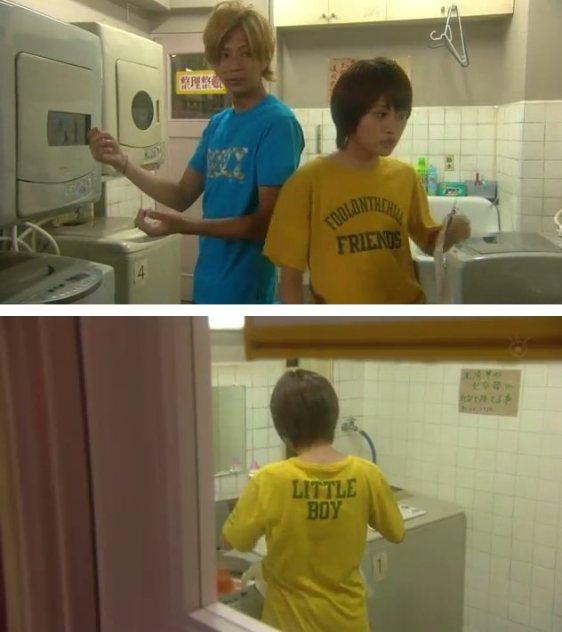 """主演・前田敦子が背中に""""LITTLE BOY""""と、前には「FOOL ON THE HILL FRIENDS 」とプリントされている黄色のTシャツを着せられている"""