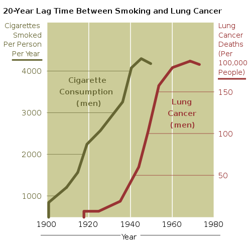 約20年のタイムラグはあるものの、喫煙と肺癌の因果関係を示すNIHによるグラフ