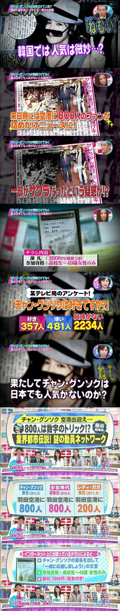 韓流スターの日本での謎のファン動員ネットワークがテレビで暴露される