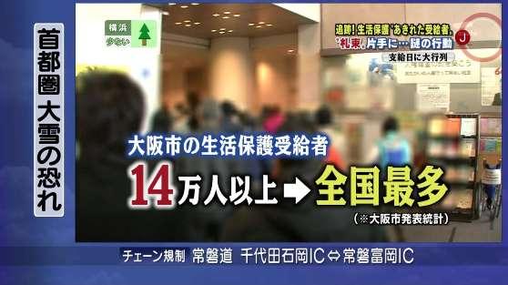 2月11日放送テレビ朝日「JチャンネルSP」大阪市の受給者は14万人以上で全国最多